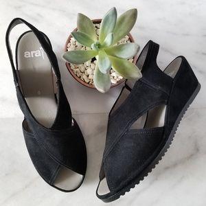 ARA Camilia Sandals Black Wedge Heels Slingback